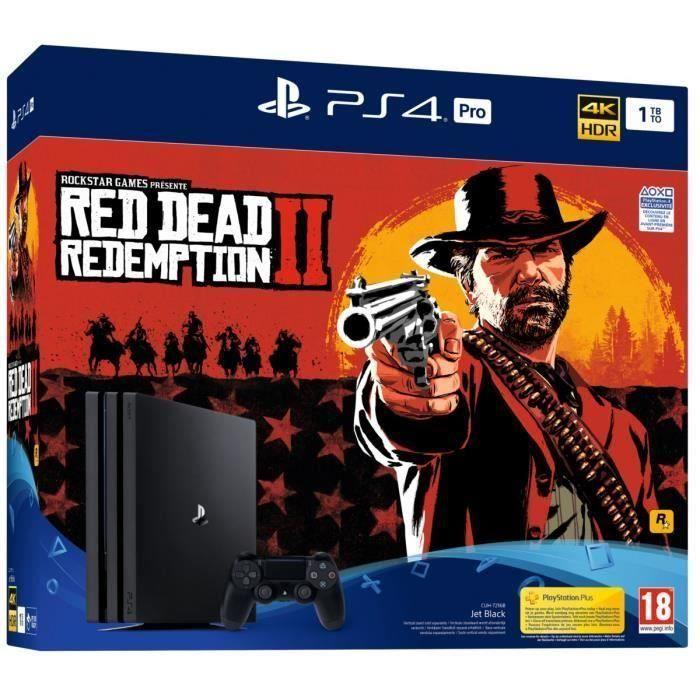 CONSOLE PS4 NOUVEAUTÉ Pack PS4 Pro 1To Noire + Red Dead Redemption 2 Edi