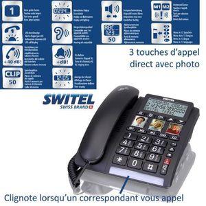Téléphone fixe Téléphone sénior Fixe TF550 SWITEL - Grand écran e