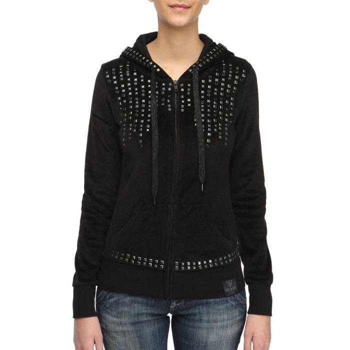 GUESS Veste Sweat Zippée Femme Noir - Achat   Vente sweatshirt ... 4165cffc440
