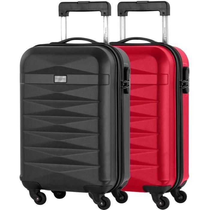 a2fb511fc7 MANOUKIAN Set de 2 valises cabine - ABS 4 roues - Gris/rouge Gris ...
